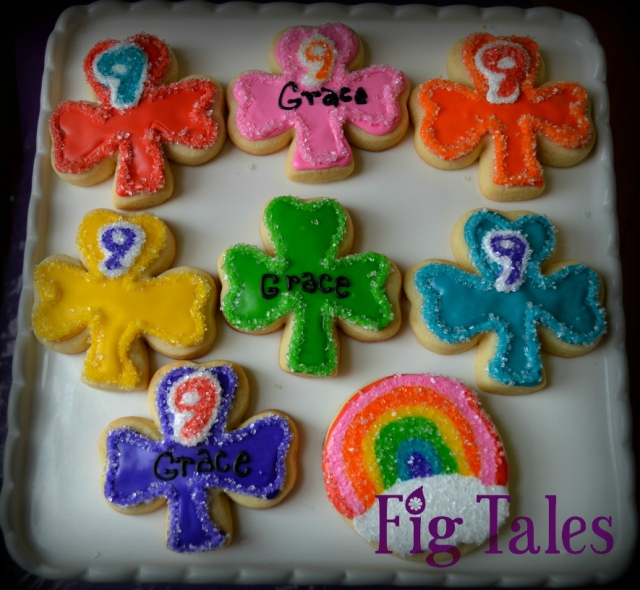 Grace's Rainbow Shamrock Birthday Cookies
